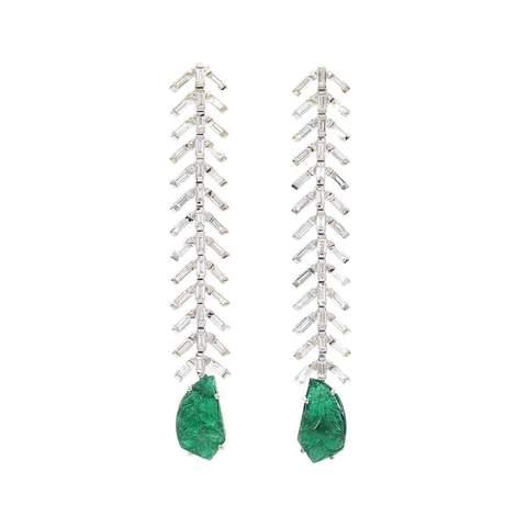 Reve Diamond & Carved Emerald Danglers