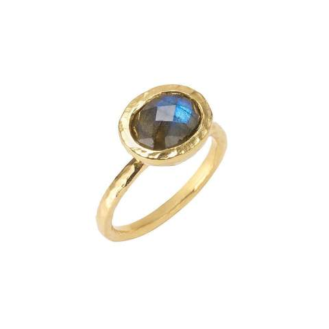 Boho Hammered Labradorite Gold Stack Ring