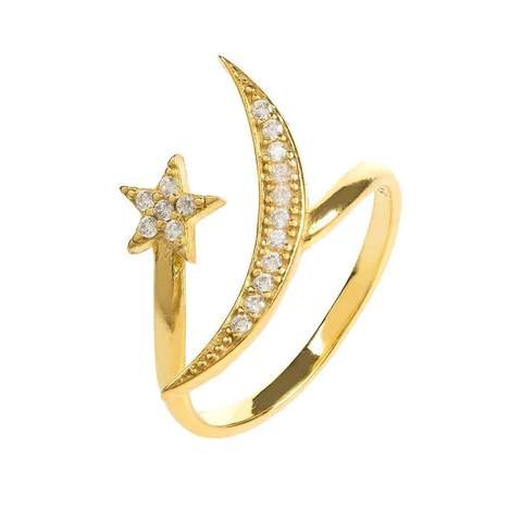 Yellow Gold Plated Moon & Star Ring With White Cubic Zirconia