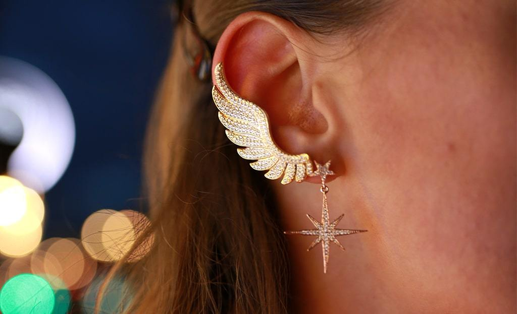 Yellow Gold Plated Gabriel Angel Wing Ear Climber - Right