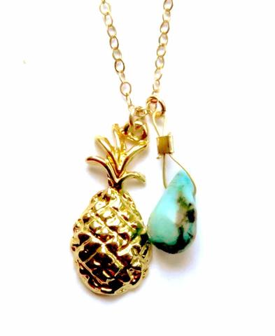 Radha In Pineapple Fields Gold & Turquoise Necklace