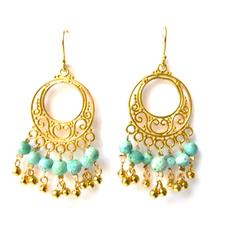 Radha Island Breezes Gold & Turquoise Earrings