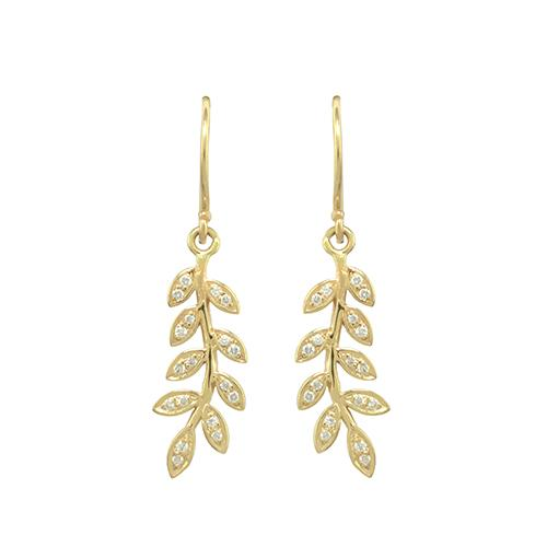 diam olive earring yellow gold