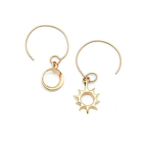 Gold Lani Sun & Eclipse Hoop Earrings | Ileava Jewelry