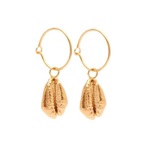 Yellow Gold Plated Oceania Cowrie Hoops