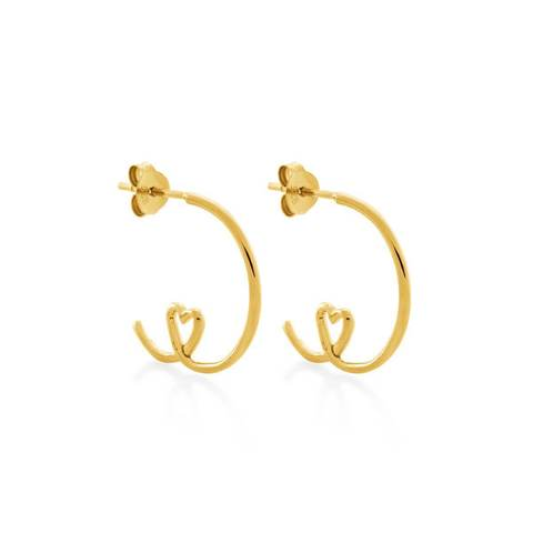 Yellow Gold Plated Shape Of My Heart Hoop Earrings