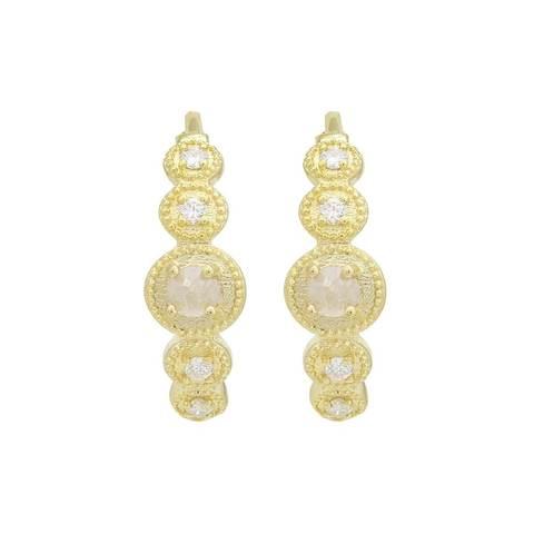 18kt Yellow Gold Rustic Rose-Cut Diamond Hoop Earrings
