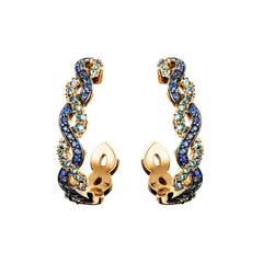 18kt Rose Gold Innervisions Hoop Earrings With Blue Sapphire & Diamonds