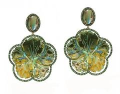 MOP' Mother Of Pearl Carved Abalone Flower With Oval Pearl & Tsavorite Earring