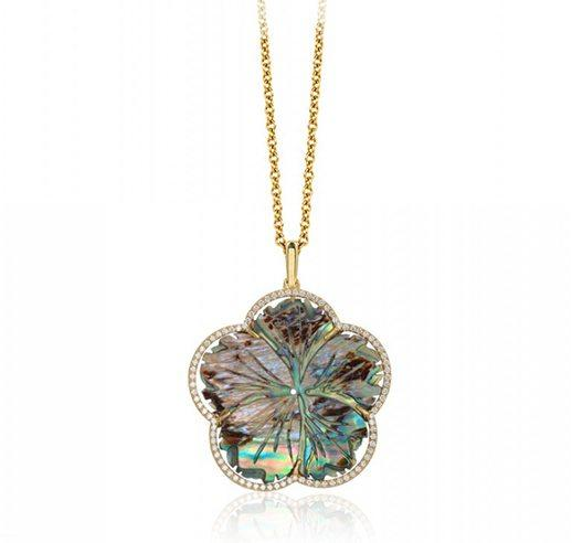 Abalone Mother Of Pearl Carved Flower Pendant With White Diamonds