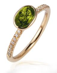 Gossip Peridot Oval Stackable Rings With Diamonds