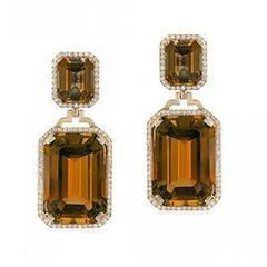 Gossip Double Citrine Emerald Cut Earrings