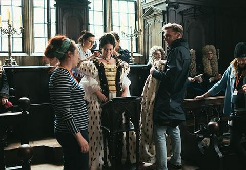 Behind the scenes on The Favourite set