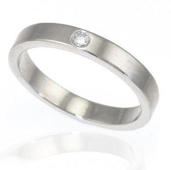 Diamond Silver Ring With Satin Finish