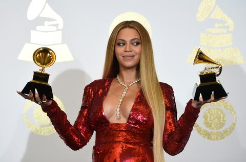 Beyonce on press shoot at the 59th Annual Grammy Awards