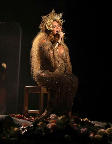 Beyonce at the 59th annual Grammy Awards
