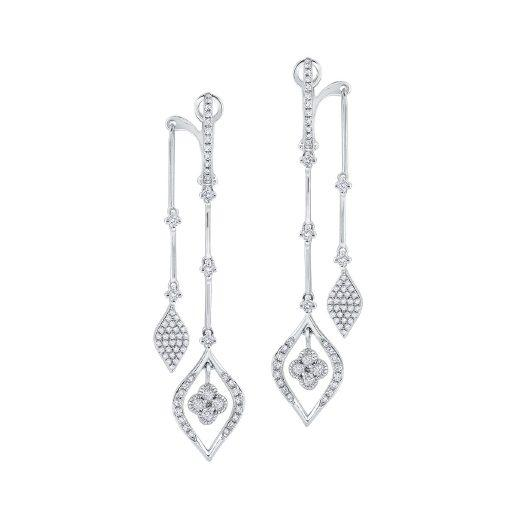 White Gold And Diamond Modern Illusion Earrings
