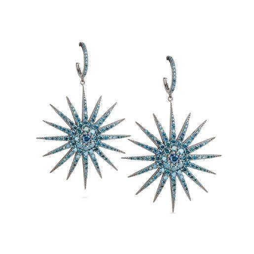 Blue Diamond Starburst Earrings