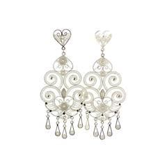 Chandelier Silver Filigree Earrings