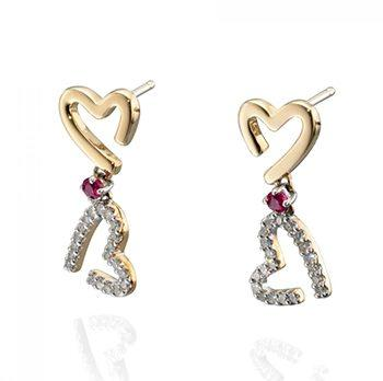 9kt Yellow Gold Diamond And Ruby Heart Drop Earrings