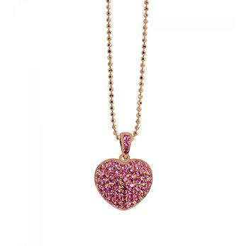 Lala 14k Rose Gold Paved Puffy Heart