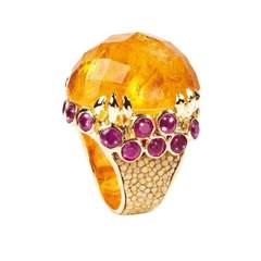 Margarita Citrine Ring With Stingray Leather