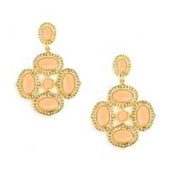 18kt Peach Moonstone Earrings With Champagne Diamonds