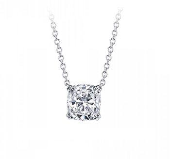Cushion Cut Diamond Solitaire Classico Collection Necklace