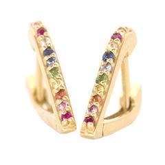 Gold & Rainbow Huggy Earrings