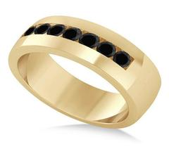 14kt Yellow Gold Black Diamond Channel Set Wedding Band