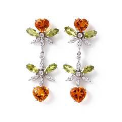 18kt White Gold Bohemme Colour Spring Earrings