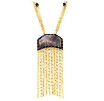 Slated Noir Fringe Necklace