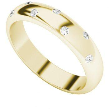 Diamond 9 Carat Yellow Gold Domed Ring