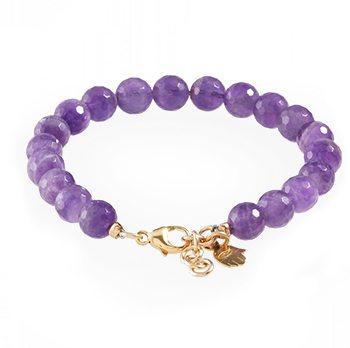 Amethyst Bracelet With Gold Hamsa