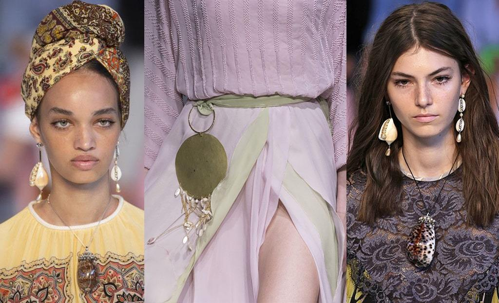 Shell jewellery on the runway