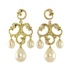 18kt Yellow Gold Rocaille Showpiece Earrings