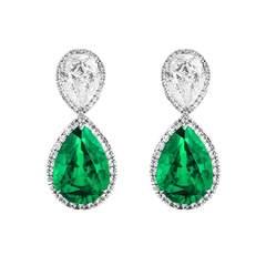 Emerald Diamond Earrings - Pear