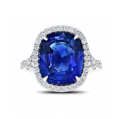 Blue Sapphire Cushion Ring