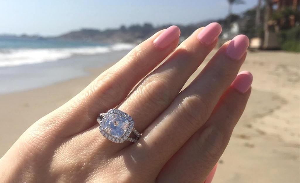 Sterling Silver & Platinum Split Shank Halo Engagement Ring | Lafonn