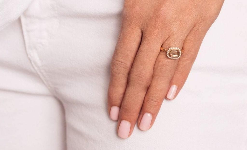 Rose Cut Fine Brown Diamond Ring
