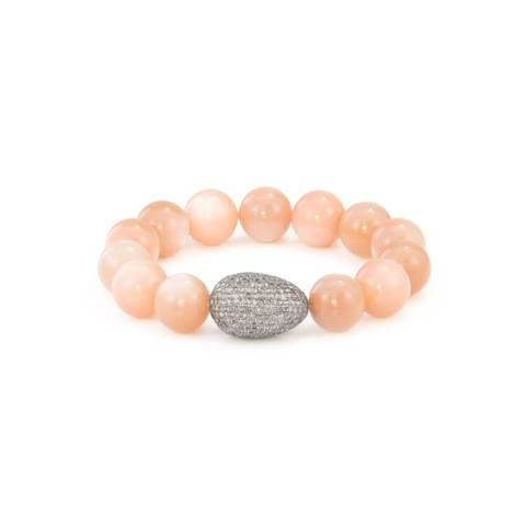 Sterling Silver Peach Moonstone Diamond Egg Bracelet