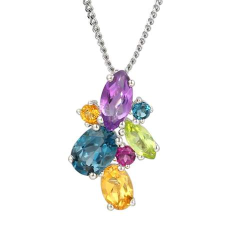Rhodium Plated Sterling Silver Rainbow Cocktail Necklace