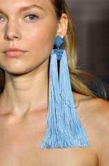 Shoulder length tassel blue earrings