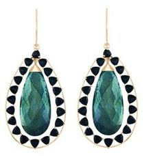 Briolette Labradorite Earrings With Black Onyx Accent