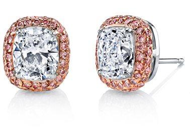 Kotlar Cushion (2.99ctw) With Fancy Intense Pink Pave Stud Earrings