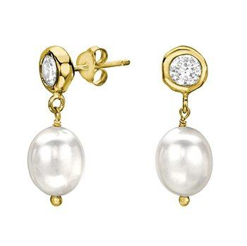 Baroque Gold Vermeil Pearl Drop Earrings