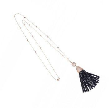 Tassel Ball Necklace Iolite (Blue)