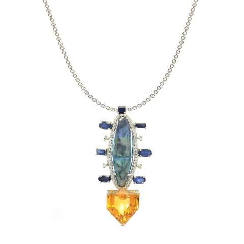 Colour Burst Arrow Black Pearl & Diamond Necklace