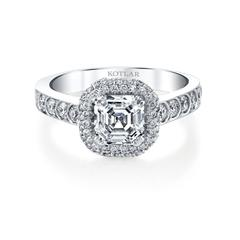 Asscher Cut Scallop Artisan Pave Ring