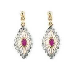 9kt Yellow Gold Pink Ruby Marquise Filigree Drop Earrings